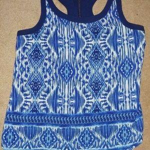 Japna Blue Aztec Print Racerback Blouse